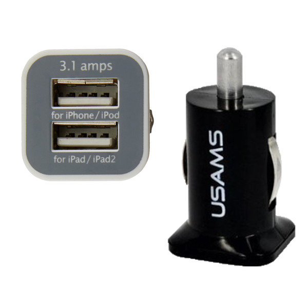 top popular 100pcs USAMS 3.1A Dual USB Car 2 Port Charger 5V 3100mah double plug car Chargers Adapter for HTC 2021