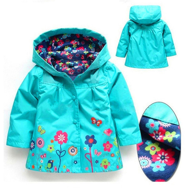 best selling Girls Flower Raincoat Jacker 9 color Kids Winter Coat Flower Jacket For Windproof Outwear 2-7T Baby Girls Clothes LA550
