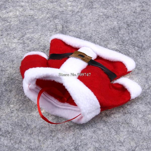 Al por mayor-4Pcs Fancy Santa decoraciones de Navidad Cubiertos de plata bolsillos decoración de mesa de comedor envío gratis