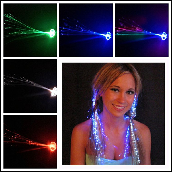 top popular 2015 Girls LED light hair braid Flash Luminous hair decoration accessories colorful fiber party supplies women J071406# DHL 2021