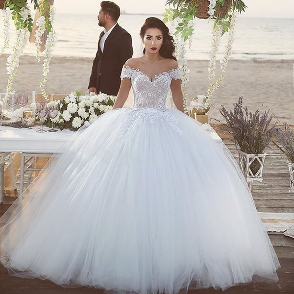 2016 Ball Gown Wedding Dresses With Off The Shoulder Straps ...