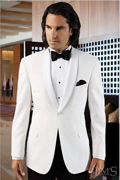 2016 One Button Tuxedos For Men Shawl Lapel Grooms White Jacket Suit with Black Pants Mens Wedding Suits Groomsmen Suit (Jacket+Pants