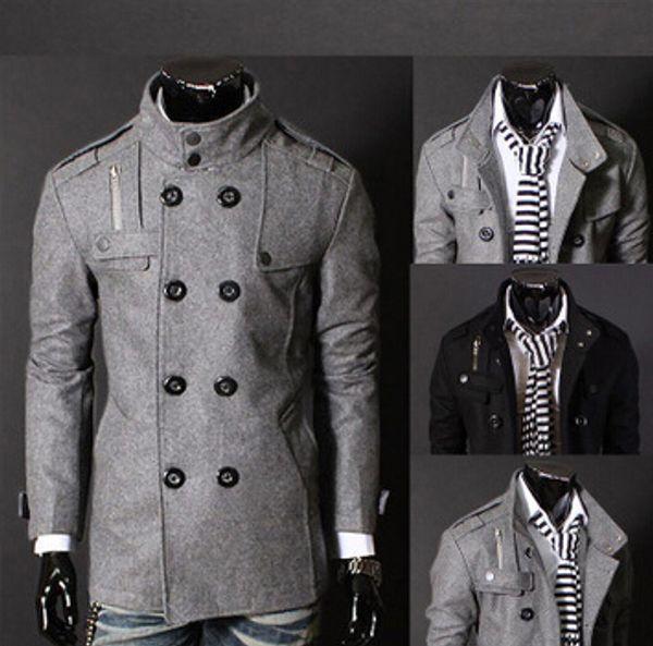 top popular Men Slim Designed winter warm Coat Hot Stylish Woolen Double Pea Topcoat Outerwear 2021