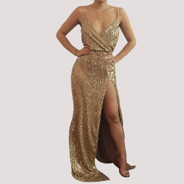 best selling Women's New Gold Sequin Evening Gown Dress Sleeveless V-Neck Split Maxi Formal Prom Dress Ladies Cocktail Party Dress Clubwear LJE1107