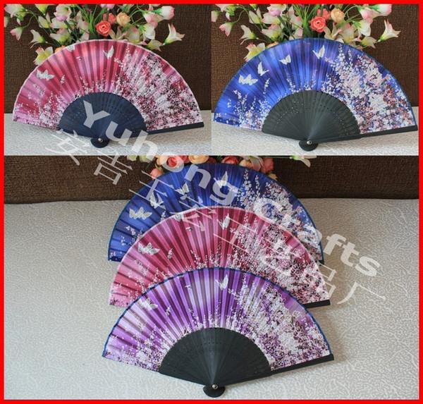 20pcs/lot high quality real silk folding fan bamboo frame butterfly design & cherry-blossom design Japanese hand fan