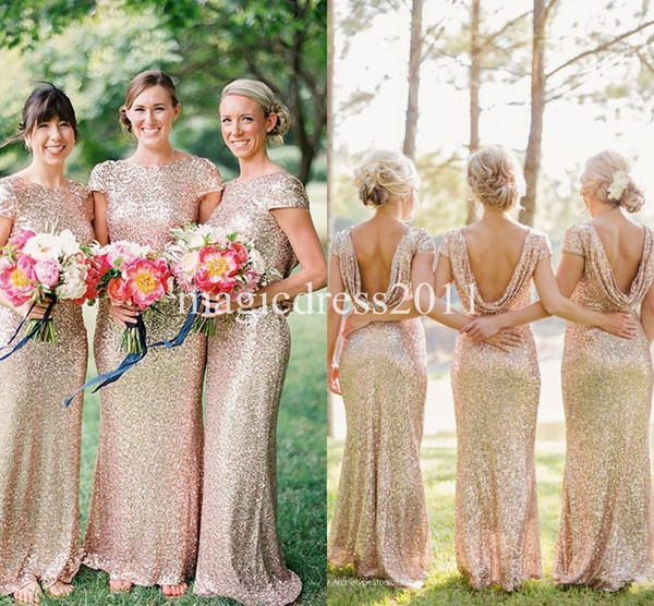 2019 Gold Sequin Bridesmaid Dress Long Rose Gold Maid of honor Dresses Mermaid Crew Short Sleeve Sparkly Formal Pageant Gowns Cheap for sale