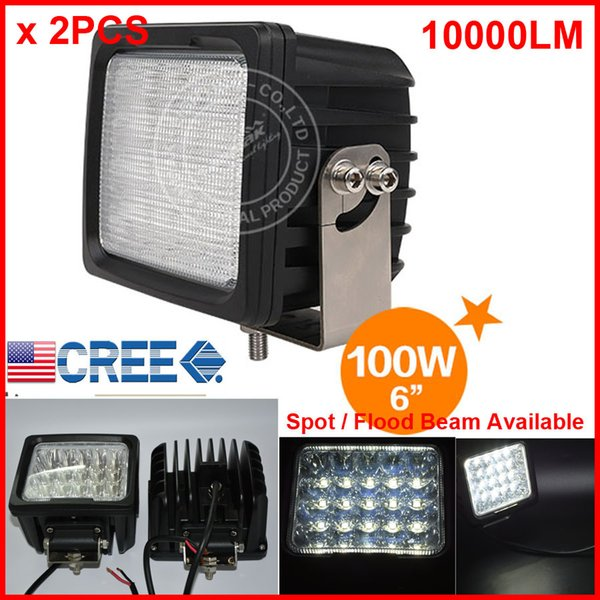 "2PCS 6"" 100W 20LED*5W CREE LED Driving Work Light Square Offroad SUV ATV 4WD 4x4 Spot / Flood Beam 9-30V 10000lm POWER Heavy Duty Truck Fork"