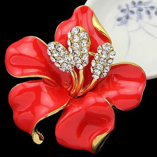 Top Quality AAA Clear Austria Crystal Rhinestone Red Color Enamel Flower Women Wedding Party Brooch Beautiful Flower Gold Plated Gift Pins