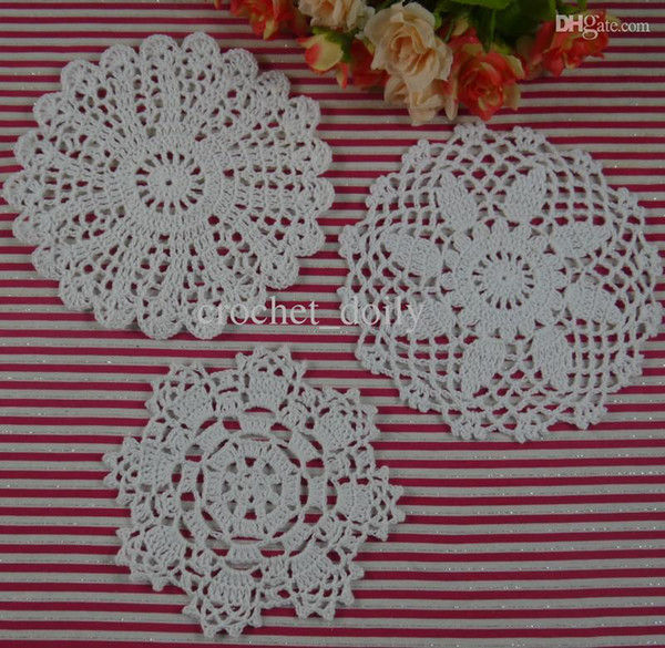 Free Shipping 30Piece crochet doilies fabric table lace placemats coasters kitchen accessories Dial 14-16cm Custom Colors zj005