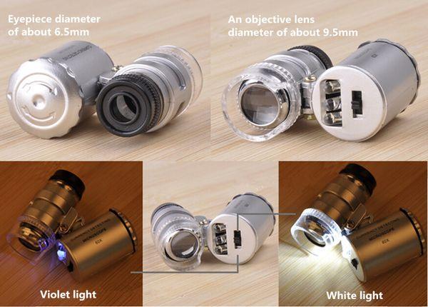 Identification Equipment Pocket microscope 60x magnifying glass with LED UV money detector mini microscope 9882