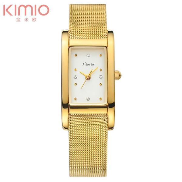 Livre new kimio marca cheia de aço relógio de ouro banda de malha retângulo relógio de quartzo de cristal mulheres relógios de pulso