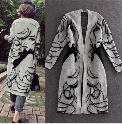 Beauty Lady Print Long Sleeve Kniting 2016 Big Children Clothing Girls Long Cardigan Tops Kids Clothes Jacket Top Outwear K6434