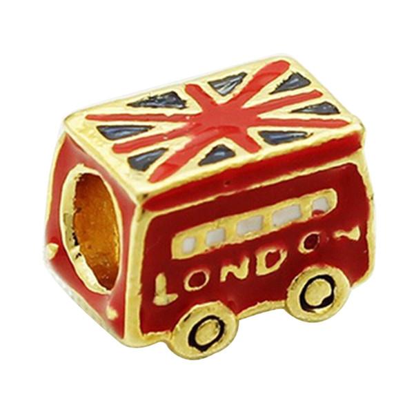 Gold Plating Uk flag color enamel LONDON Peace Bus charm European Beads For Pandora Bracelet