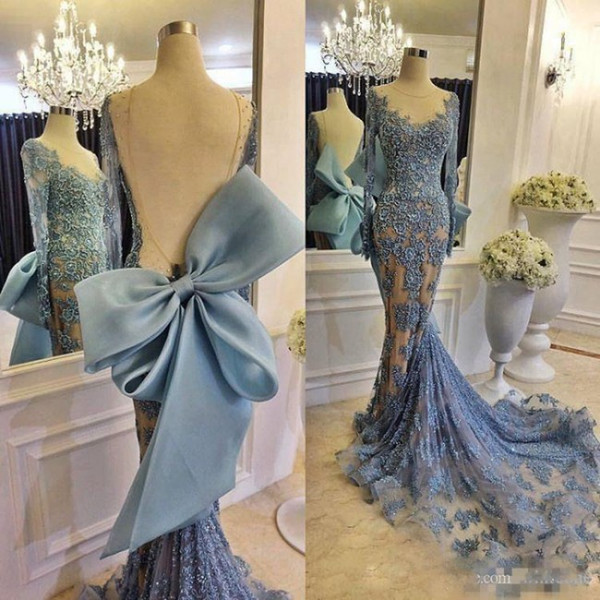 Modest Formal Zuhair Murad Evening Dresses With Big Bow Sheer Long Sleeves Sky Blue Lace Bead Fishtail Train Prom Dress Party Gowns