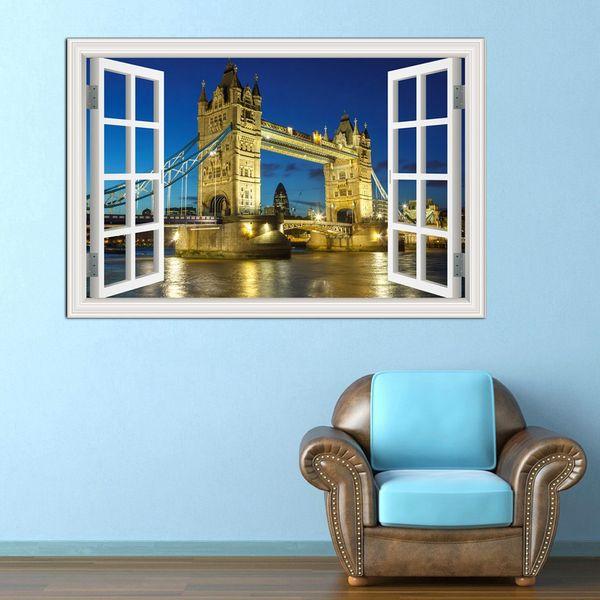 3D Window Scenery Bridge Wall Sticker Modern Decor Decals for Living Room Decoration Wall Art Wallpaper Landscape