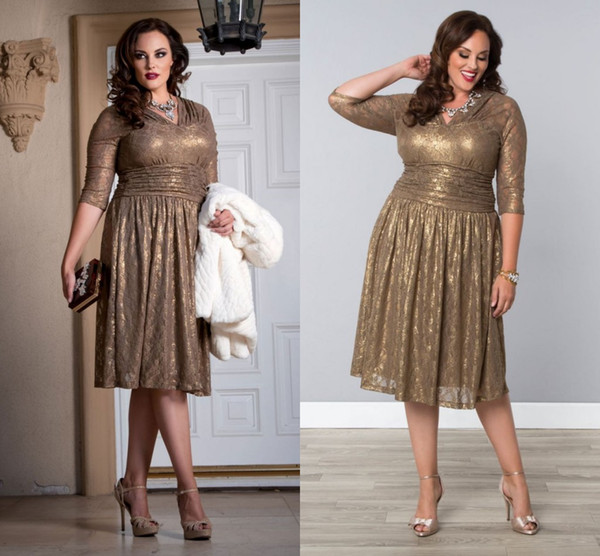 Cheap Gold Lace Plus Size Special Occasion Dresses Sheer Sleeves Tea Length  Elegant Shining Champagne Prom Evening Gowns With V Neck Petite Plus Size  ...