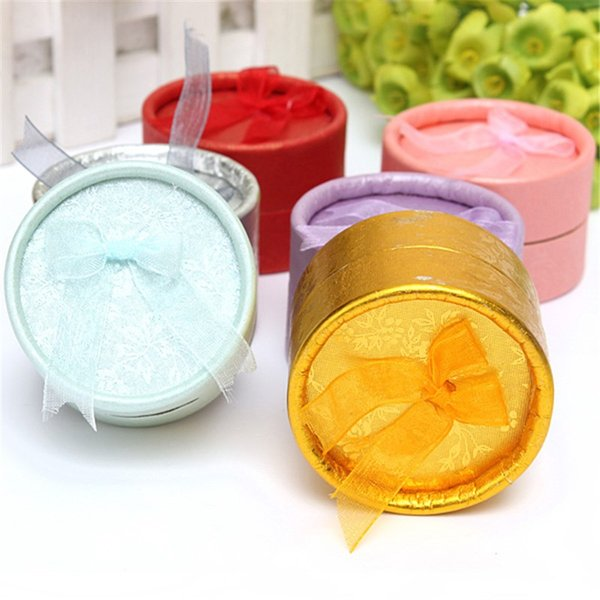 10PCS Sky Blue / Pink / Purple / Gold / Silver / Red Cardboard Round Ring Jewelry Package Gift Box Case 2 x 2 x 1.5 Inch order<$18no track