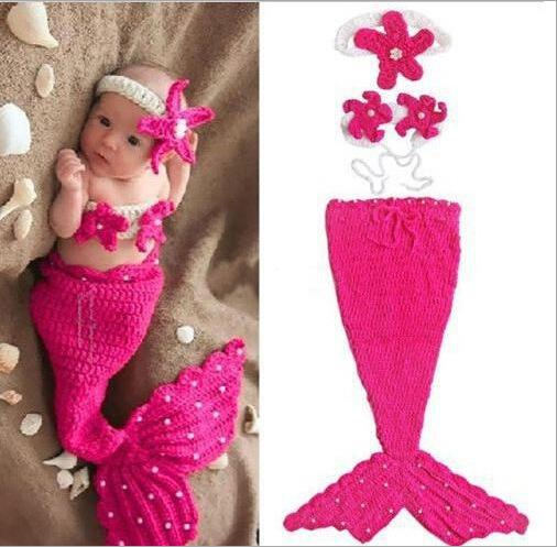 New Children Baby Pearl Mermaid Suite Caps Manual Crochet Hook Woolen Hats for Baby One Hundred Days Photography Props