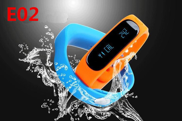 Smart Wrist Watch E02 Smartband Bluetooth Fitness Tracker Health Bracelet Wristband Sports Gear Fit For Android iOS Pedometer Waterproof