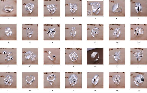 Vente chaude plaqué 925 Sterling Silver Charms Bagues Anneaux Vintage Femmes filles anneau 30 Styles choisissent 10pcs / lot