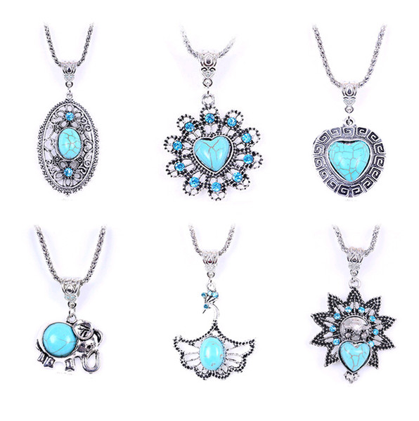 Wholesale Tibetan Silver Jewelry in Bulk Personality Turquoise Chokers Necklace Cheap European Hollow-out Many styles pendants 18 types