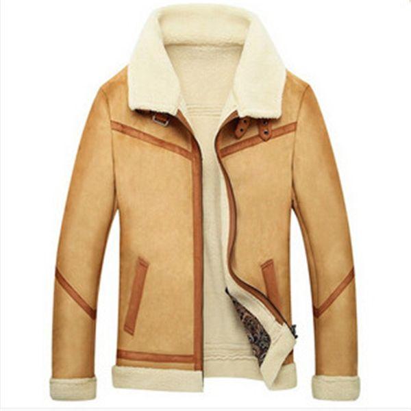 top popular Fall-2015 New Men Suede Leather Jackets Winter Fur Coats Size M-4XL Vintage Camel   Coffee Man Wool Outerwear Warm Fleece Lining 2019