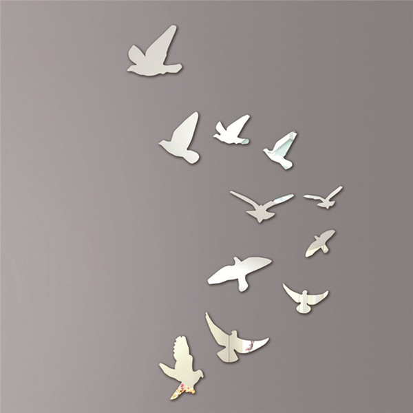 Wholesale-Acrylic Birds Mirror Effect Mural Wall Sticker Removable Modern Room Decoration Free Shipping
