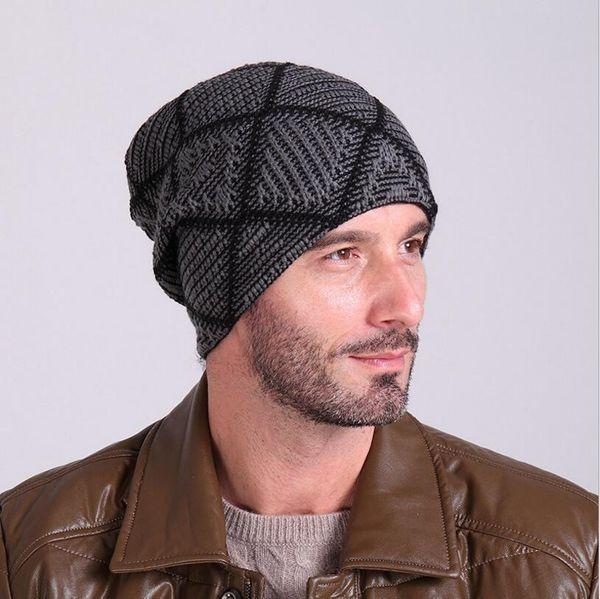 4e459d0cd7 Men's Skullies Hat Bonnet Winter Beanie Knitted Hat Plus Velvet Cap Thicker  Plaid Skis Sports Beanies
