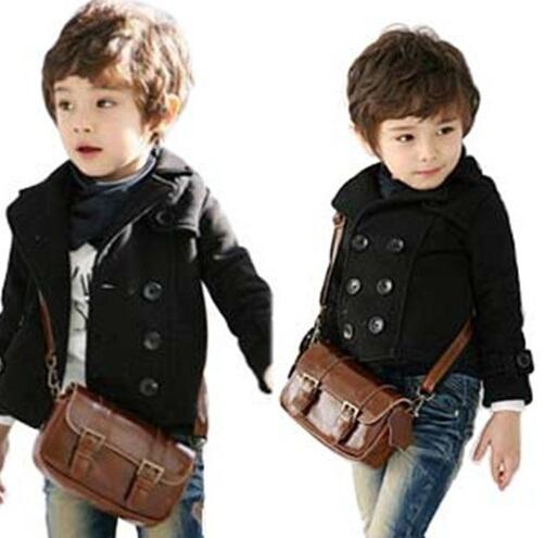 top popular boy double breasted jacket black coat boy small suit jacket coat long sleeve wool kids clothes children jacket free shipping in stock 2019
