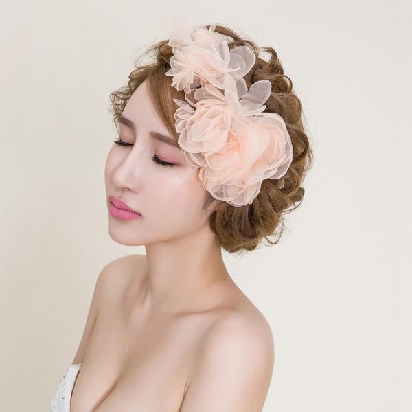 Romantic Organza Flower Hair Accessories Wedding Hair Accessories For Brides Garden Wedding Party Communion Headpieces Brides Head Piece