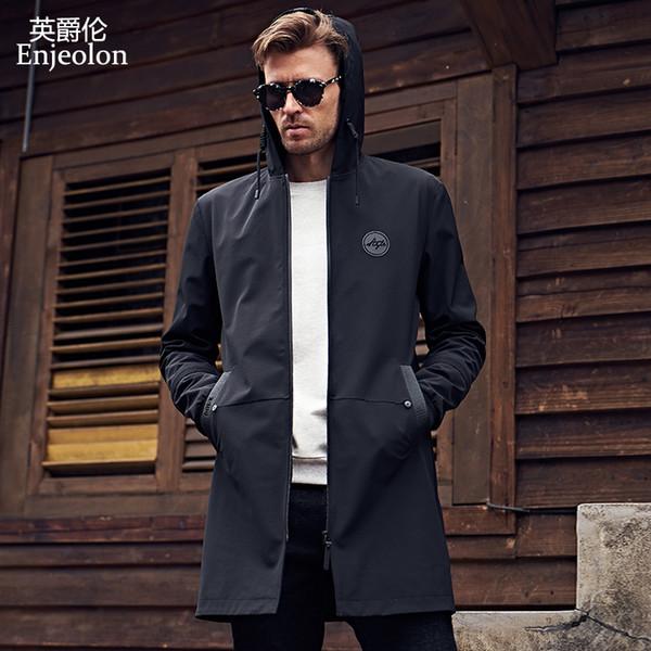 Atacado- Enjeolon brand new hoodies trincheira casaco roupas masculinas qualidade masculino longo preto trench coat blusão jaqueta plus size 3XL JK0419