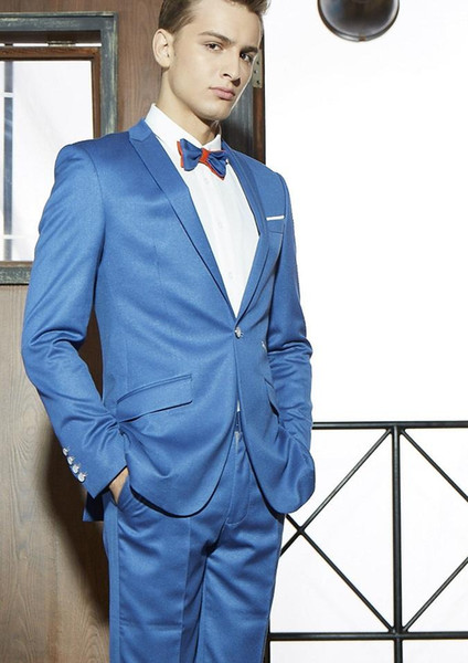 Custom made New Slim fit Groom Tuxedos Blue Peak Lapel A button Best Man Groomsman Men Wedding Party Prom Suits New Spring Dress