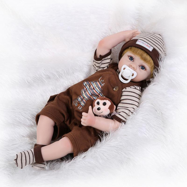 Wholesale- Reborn Baby Doll Soft Silicone 22inch 55cm Magnetic Mouth Lovely Cute Toy Boy Sports Doll