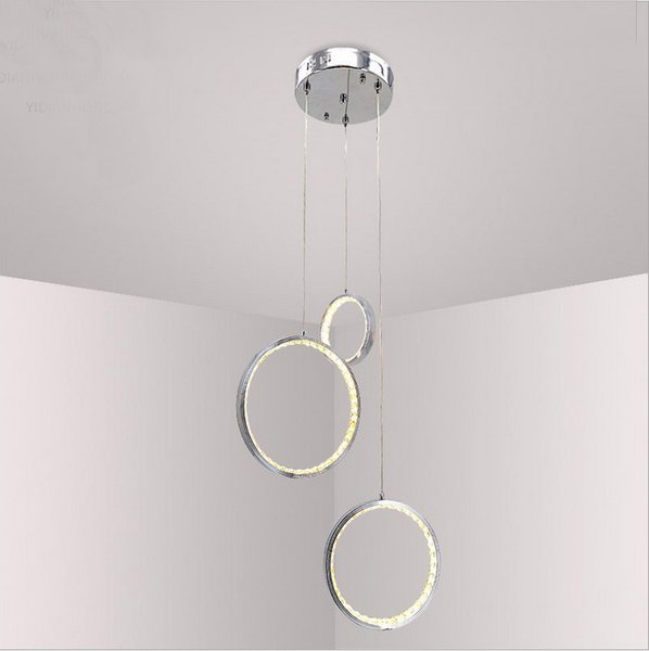 Simple stylish modern 3 rings chrome color finish aluminium alloy metal LED crystal pendant light chandeliers for dinning room bedroom