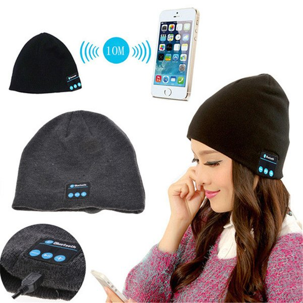 Solid Bluetooth Warm Beanie Hat Cap Wired Smart Headphone Speaker With Music Hat Unisex Striped Cool Knitted Cap