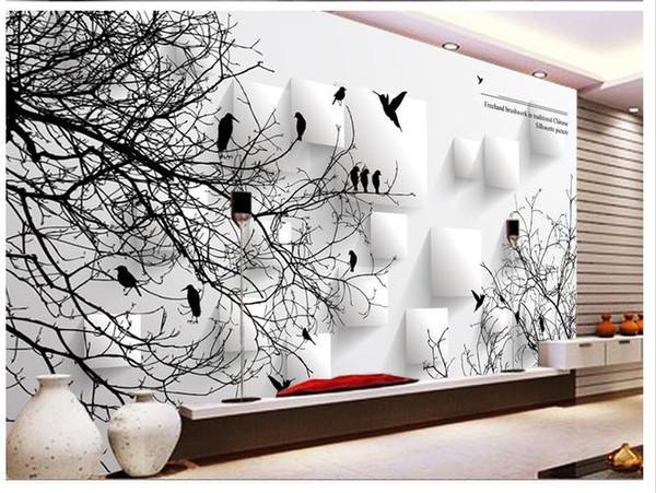 Grosshandel Benutzerdefinierte Fototapete 3d European Abstract Vogel Baum Retro Sofa Hintergrund 3d Wallpaper 3d Wandbild Tapete 20159843 Von