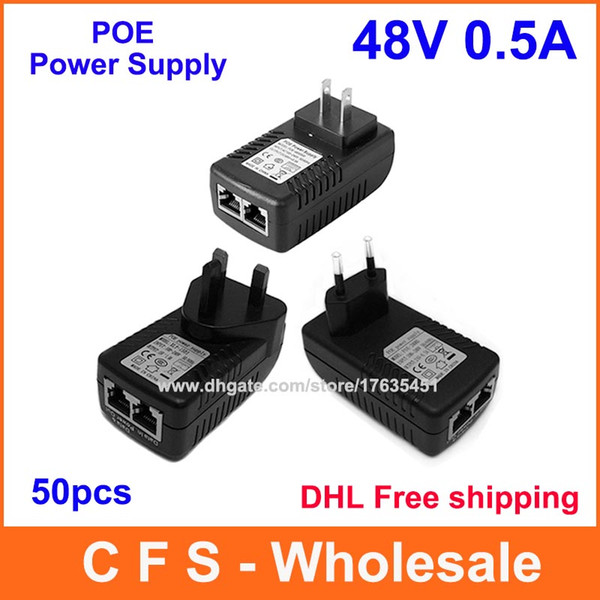 best selling DHL Free shipping 48V 0.5A Wall Plug POE Injector Ethernet Adapter IP Phone   Camera Power Supply 50pcs