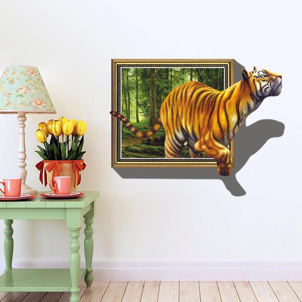 70 * 100cm autocollants tigre 3D Woods Cartoon mur décoration pvc chambre d'enfants amovible décalcomanies art mural Decal Wallpaper Halloween cadeau de Noël