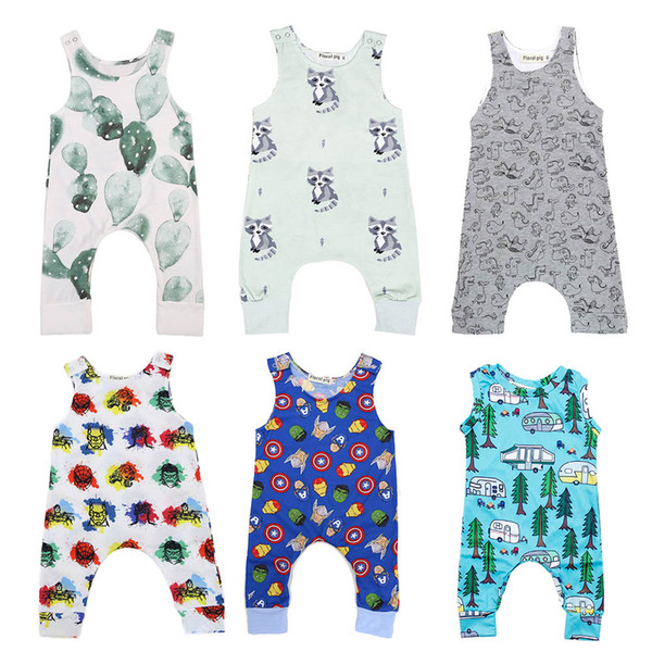 best selling Baby Print Rompers 40+ Designs Boy Girls Cactus Forest Road Newborn Infant Baby Girls Boys Summer Clothes Jumpsuit Playsuits 3-18M