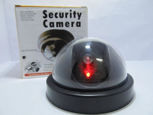 Dummy Fake Dome Camera Dummy Mock indoor CCTV Security camera with Red LED in retail box 100pcs