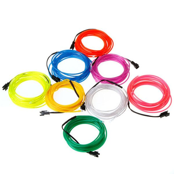 10 colores Flexible Neon Light Glow EL Wire Rope Tube Car Dance Controller 3M / 9ft 5M / 16ft