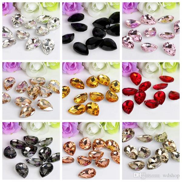 Venta al por mayor 8 * 13 mm Crystal Drop Rhinestone gemas de cristal piedras de cristal coser artesanías decoraciones DIY Rhinestone suelta perlas