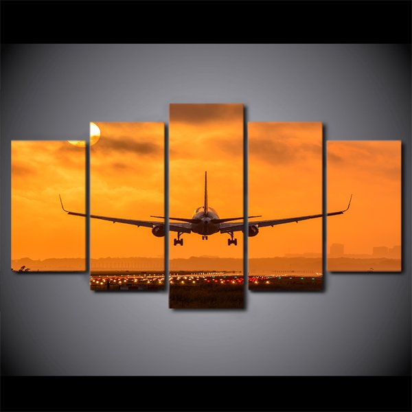 HD Printed 5 Pieces Canvas Art Painting Sunset Airplane Take Off Poster Wall Pictures for Home Decoration Free Shipping CU-2854C