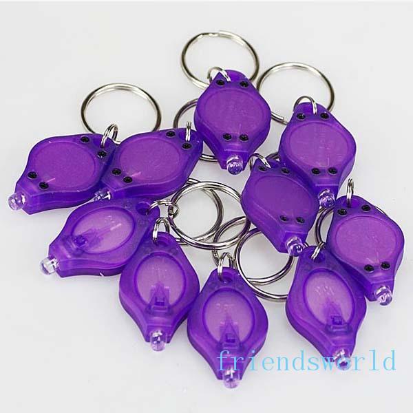 best selling Fashion Mini Flashlights Key Chain Flashlights Cheap UV Money Detector LED Keychain Light Multicolor Small Gift Free Shipping