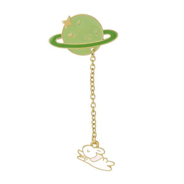 New Fashion Vintage Designer Enamel Rabbit Planet Charm Costume Brooch Pins Jewelry Accessories for Women 6.9x3.2cm 1Piece