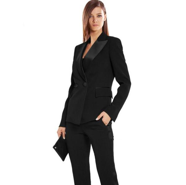 Black Autumn Bussiness Formal Elegant Women Suit Set Blazers Pants Office Suits Ladies Pants Suits Trouser Suits