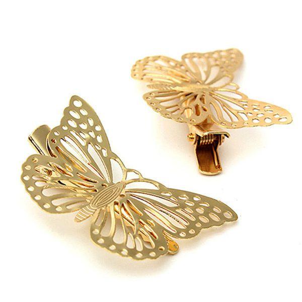 Al por mayor-2pcs oro hueco de la mariposa pernos de pelo nupcial Clip de la pieza para la cabeza Barrettes para mujeres niñas