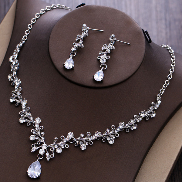 2017 Women Fashion Bridal Rhinestone Crystal Drop Necklace Earring Plated Jewelry Sets Wedding Earrings Pendant Cheap Free Shipping EN1101