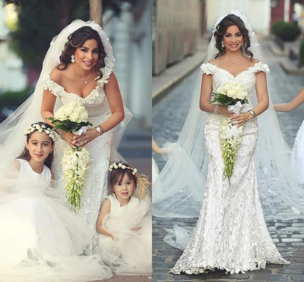 Elegante fuera del hombro de encaje completo floral sirena vestidos de novia dijo Mhamad Elegante vestidos de novia más tamaño otoño boda árabe