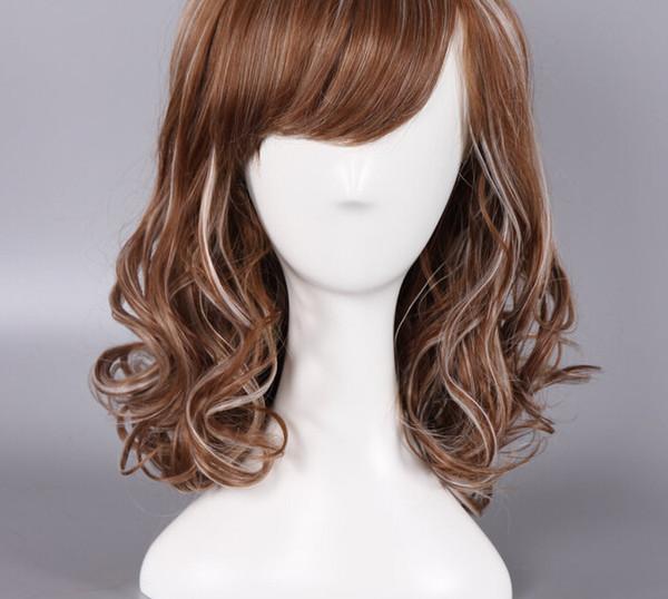 Anime Cosplay perruque mélangeant kaki longue perruque de cheveux bouclés perruque usine directe en gros bateau gratuit pour le prix de gros